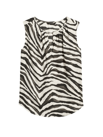 Soft Satin Split-Neck Tank in Zebra Print
