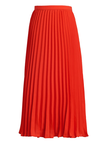 Pleated Midi Skirt in Hot Red
