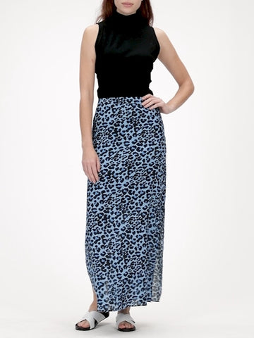 Leopard Maxi Skirt with Side Slits in Blue Leopard
