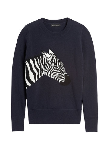 Italian Wool-Blend Zebra Sweater in Navy