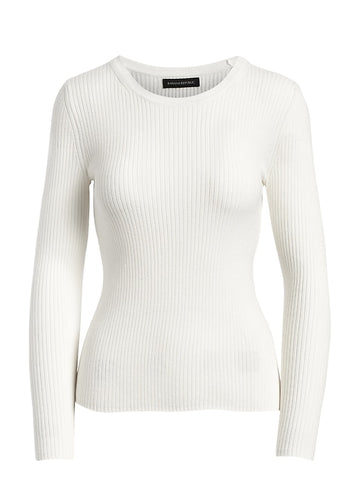 Fitted Ribbed Sweater Top in White