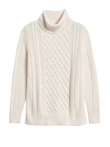 Cable-Knit Sweater Tunic in Sand