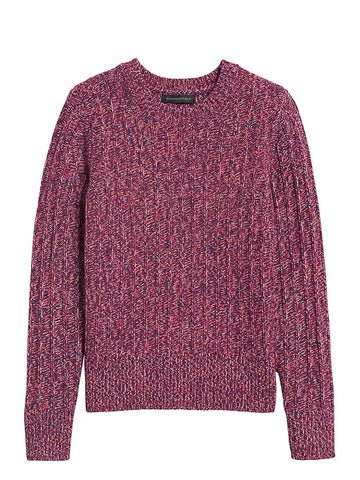 Marled Wool-Blend Sweater in Berry Red