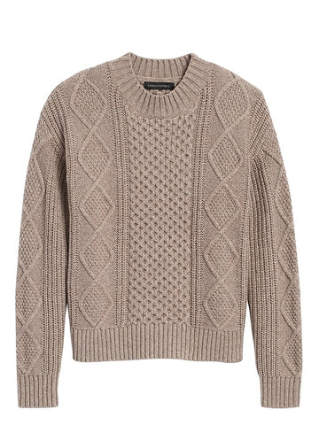 Cable-Knit Cropped Sweater in Mushroom Taupe