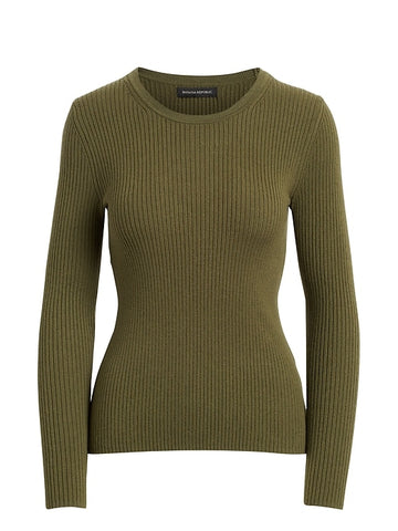Fitted Ribbed Sweater Top in New Olive Green