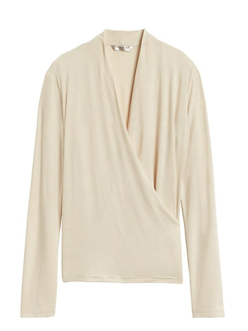 Threadsoft Wrap Top in Cream White