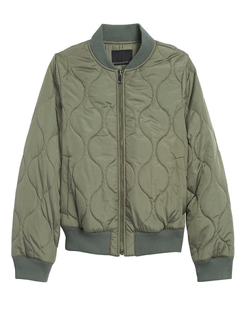 Water-Resistant Quilted Bomber Jacket in Flight Jacket Green