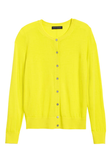 Merino Cardigan Sweater in Neon Yellow-Green