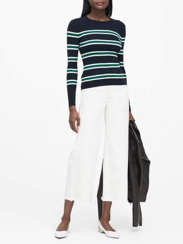 Stretch-Cotton Fitted Sweater in Navy & White Stripe
