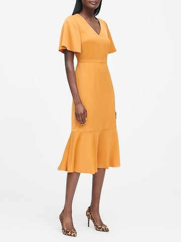 Flutter-Sleeve Midi Dress in Marigold Yellow