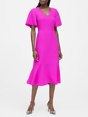 Flutter-Sleeve Midi Dress in Hot Pink