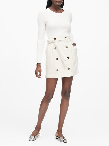 Paperbag-Waist Skirt in White