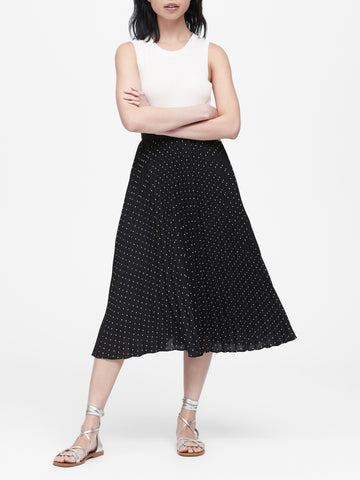 Polka Dot Pleated Midi Skirt in Black Dot