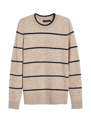 Aire Crew-Neck Sweater in Sand Beige & Black Stripe