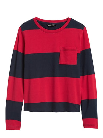 Cotton Crew-Neck T-Shirt in Navy & Red Stripe