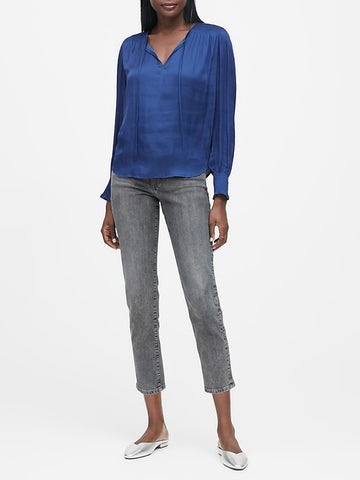 Satin Smocked Tie-Neck Blouse in Indigo Fog Blue