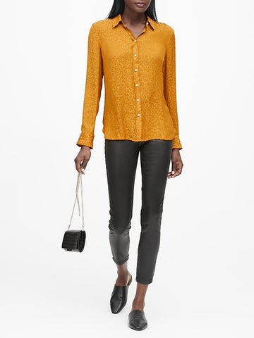 Dillon Classic-Fit Leopard Shirt in Marigold Yellow Leopard