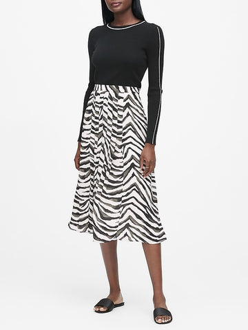 Zebra Pleated Midi Skirt in Zebra Print