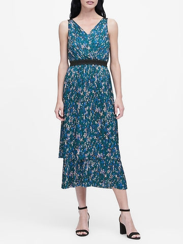 Pleated Tiered Midi Dress in Teal Green Floral