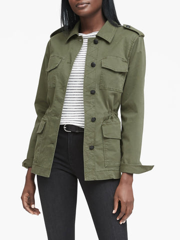 Twill Utility Jacket in Deep Olive Green