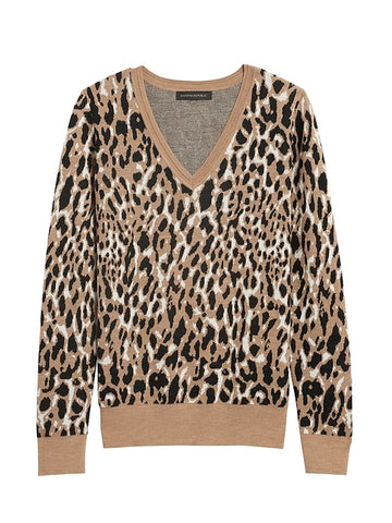 Leopard Sweater in Camel Leopard Print