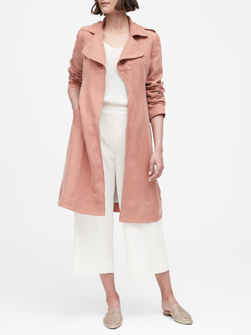 Soft Trench Coat in Dusty Pink