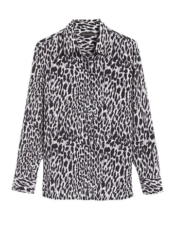 Dillon Classic-Fit Silk Shirt in Black & Leopard Print