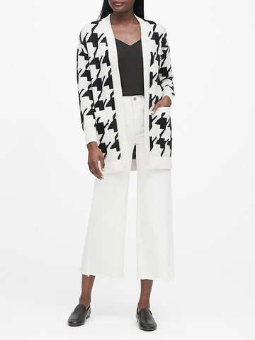 Houndstooth Oversized Coatigan in Black & Damask White