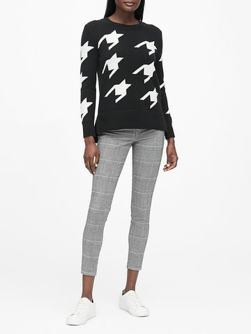 Houndstooth Hi-Low Hem Sweater in Black & White