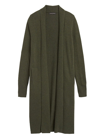 Italian Wool-Blend Duster Cardigan in Forest Green