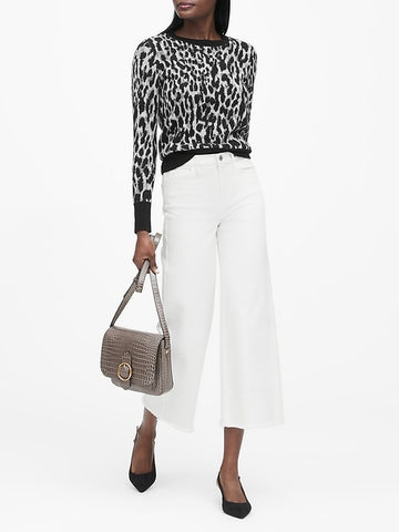 Leopard Crew-Neck Sweater in Leopard Print