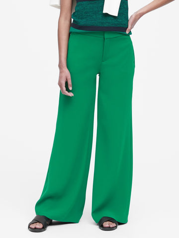 High-Rise Wide-Leg Pant in Luscious Green