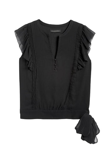 Ruffle Blouse in Black