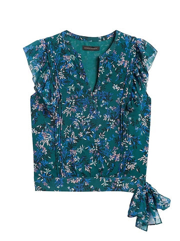 Ruffle Blouse in Teal Green Floral