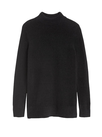 Aire Mock-Neck Sweater Tunic in Black