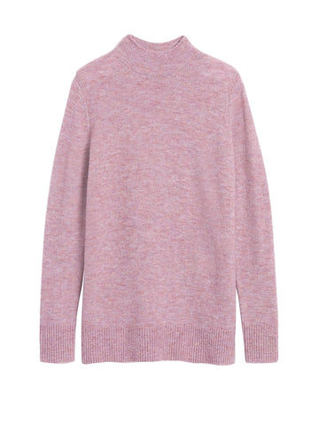 Aire Mock-Neck Sweater Tunic in Soft Lilac