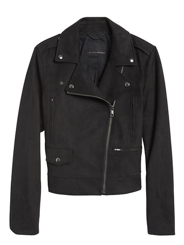 Vegan Suede Moto Jacket in Black
