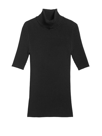 Fitted Turtleneck Sweater Top in Black