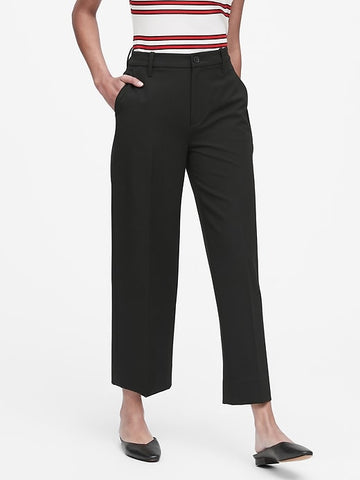 Slim Wide-Leg Cropped Pant in Black
