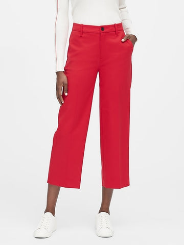 Slim Wide-Leg Cropped Pant in Ultra Red