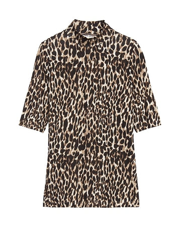 Soft Stretch Modal Mock-Neck T-Shirt in Tan Leopard Print