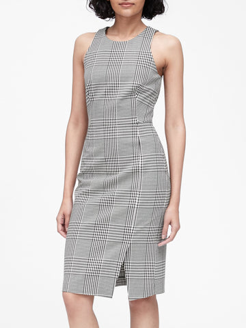 Plaid Bi-Stretch Sheath Dress in Black & White Houndstooth