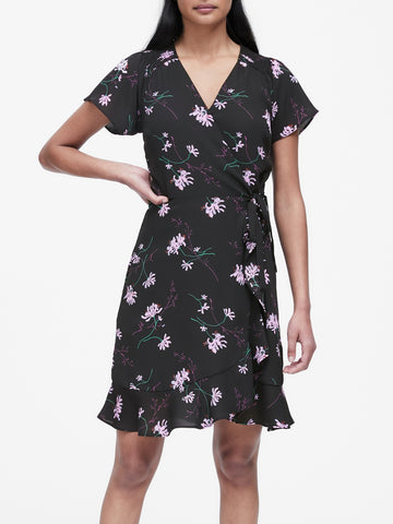 Floral Ruffle Wrap Dress in Black Floral