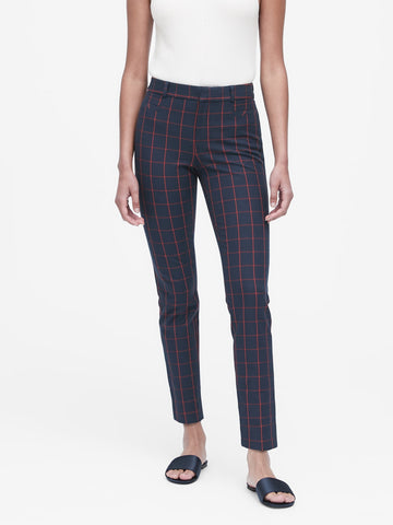 Modern Sloan Skinny-Fit Pant in Navy & Red Plaid