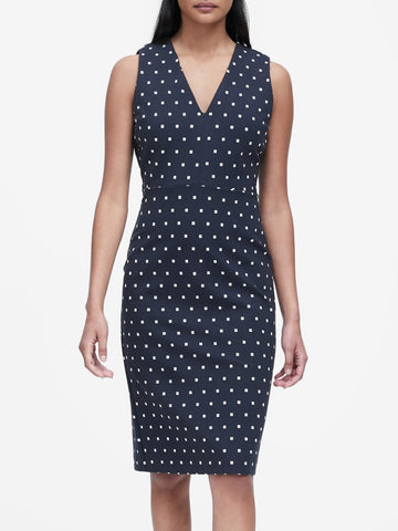Polka Dot Ponte Sheath Dress in Navy Square Dot