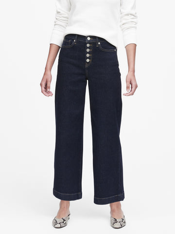 High-Rise Wide-Leg Cropped Jean in Rinse