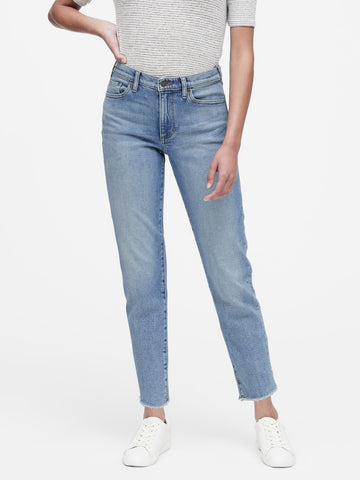 High-Rise Straight-Fit Ankle Jean in Indigo