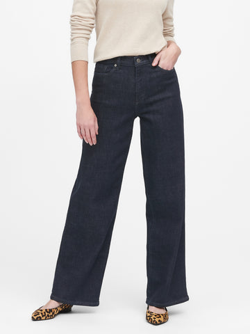 High-Rise Wide-Leg Jean in Dark Rinse