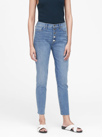High-Rise Skinny Button-Fly Jean in Indigo