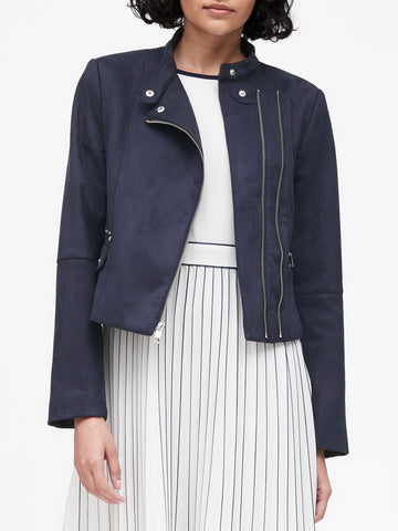 Vegan Suede Biker Jacket in Navy